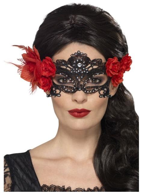 Μαύρη γυναικεία μάσκα μεταμφίεσης με κόκκινα λουλούδια