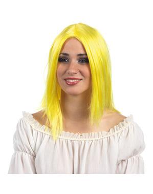 Peruca loira néon para mulher