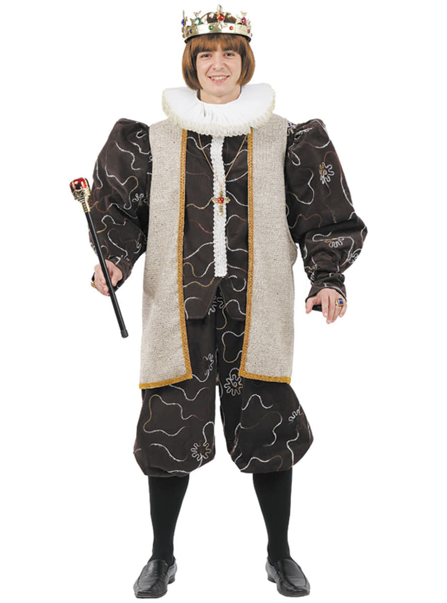 Medieval King Costume With White Cape