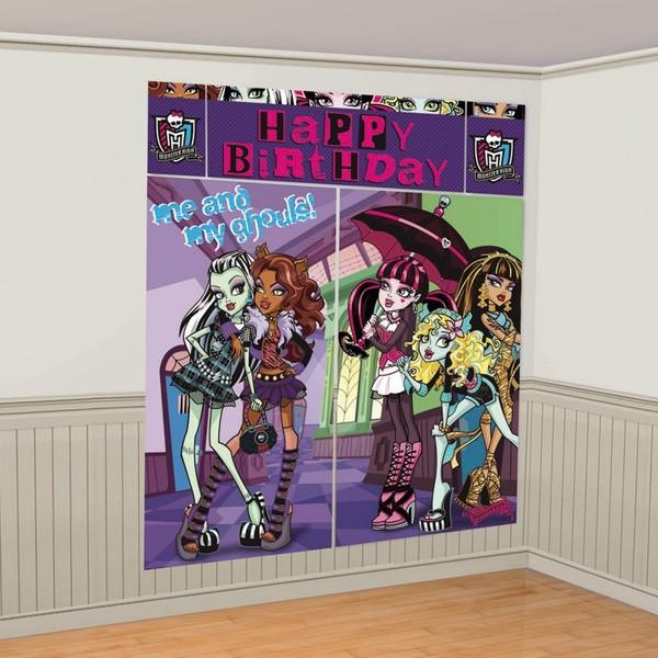 Decoración de pared Feliz Cumpleaños de Monster High