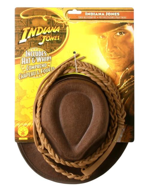Indiana Jones -piiska ja hattu -setti lapsille
