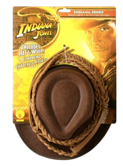 Kit de Chapéu e Chicote Indiana Jones para menino