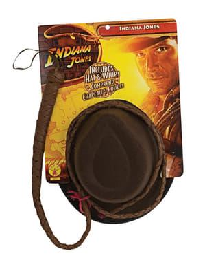 Indiana Jones -piiska ja hattu -setti aikuisille