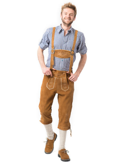 Light brown lederhosen for men