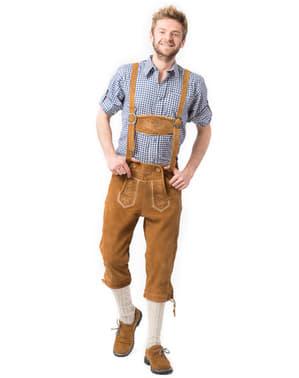 Jasnobrązowe lederhosen dla mężczyzn