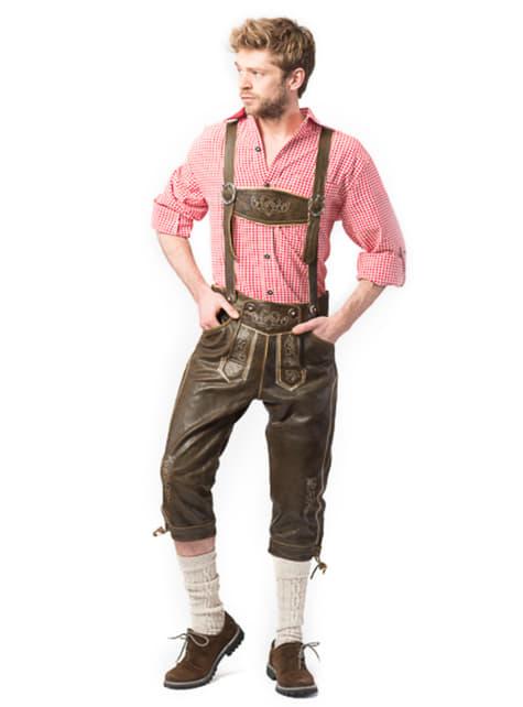 Ciemnobrązowe lederhosen dla mężczyzn