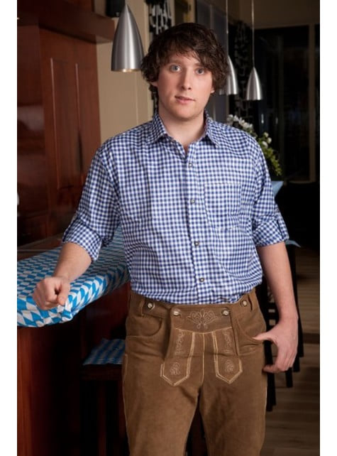Camisa tirolesa azul para hombre - hombre