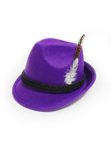 Sombrero tirolés morado para mujer