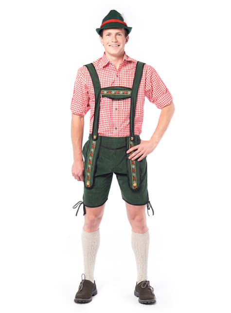 Bavorský lederhosen kostým zelený