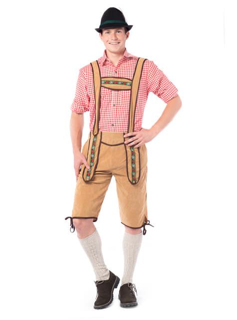 Light brown Tyrolean lederhosen costume
