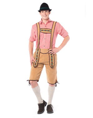 Costume tirolese lederhose marrone scuro
