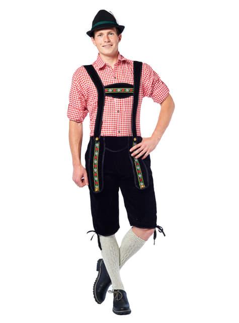 Black Tyrolean lederhosen costume