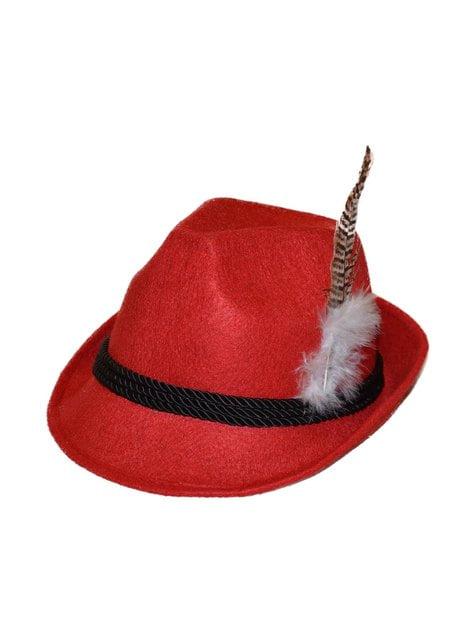 Pălărie tiroleză roșie pentru femeie