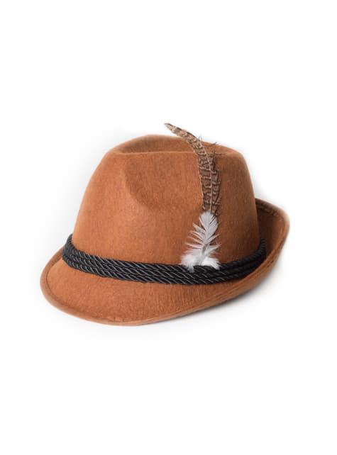 Chapéu de tirolês castanho para adulto