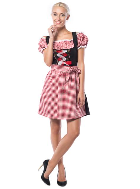 Vestido de bávara rojo y negro para mujer