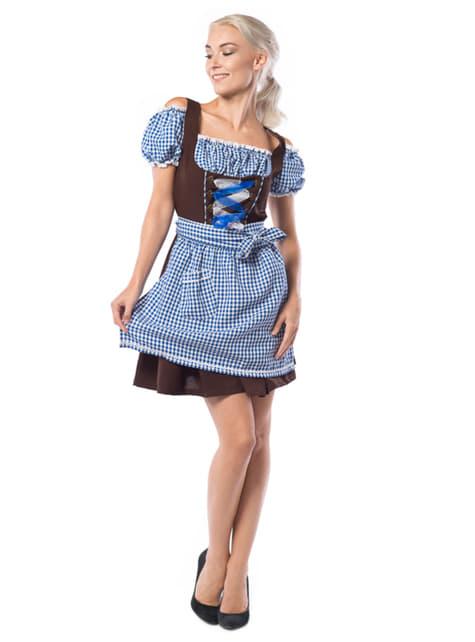 Vestido de bávara azul y marrón para mujer