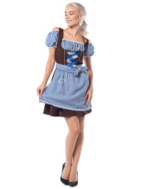 Dirndl de bávara azul e castanho para mulher