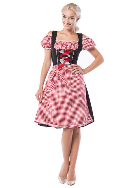 Vestido de Oktoberfest rojo y negro para mujer