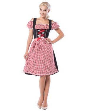 Dirndl da Oktoberfest rosso e nero per donna