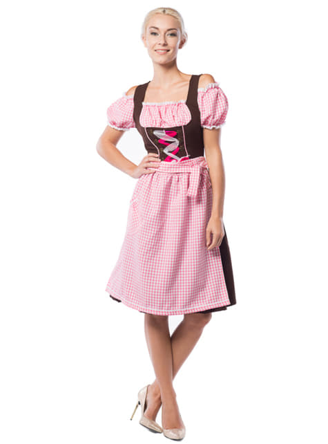 Long pink and brown Bavarian dress
