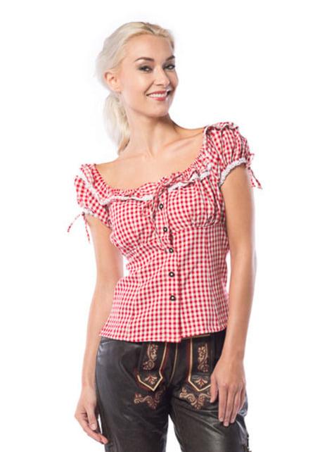 Camisa de taberneira vermelha e branca para mulher