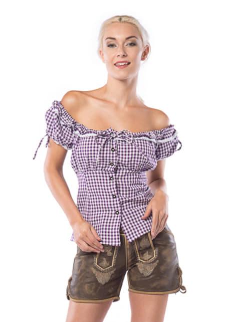 Camisa de bávara morada y blanca para mujer