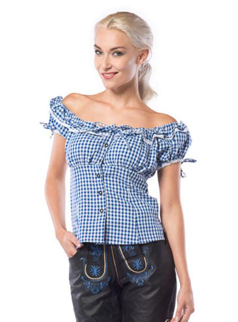 Camisa de taberneira azul e branca para mulher