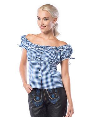 Camisa Oktoberfest azul e branca para mulher