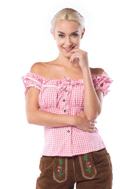 Camisa de taberneira cor-de-rosa e branca para mulher