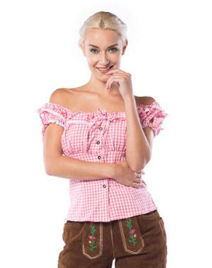 Cămașă de bavareză roz și alb pentru femeie