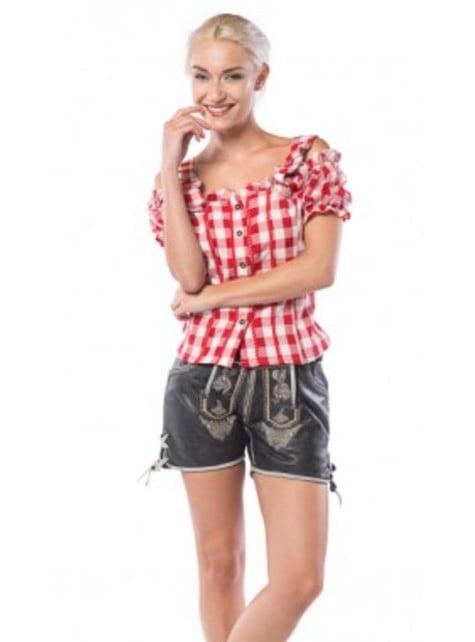 Camisa de tirolesa roja y blanca para mujer