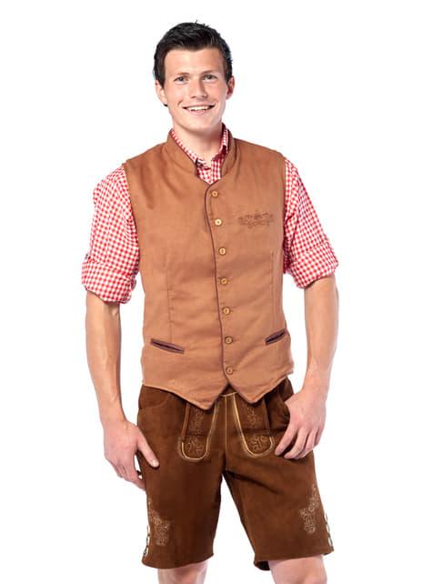 Chaleco tirolés marrón para hombre