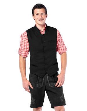 Mens Bavarian black waistcoat