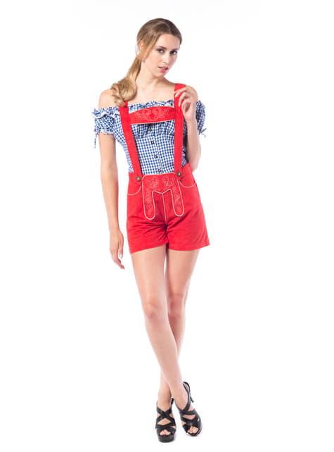 Costum tiroleză lederhose roșu