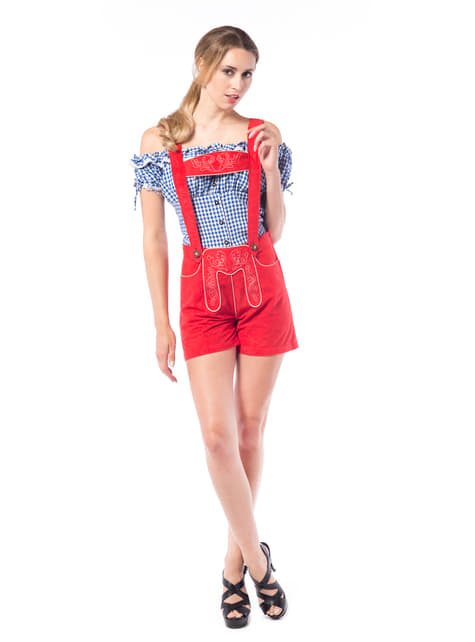 Disfraz tirolesa lederhose rojo