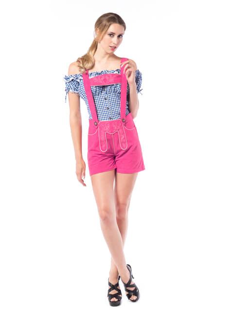 Disfraz tirolesa lederhose rosa