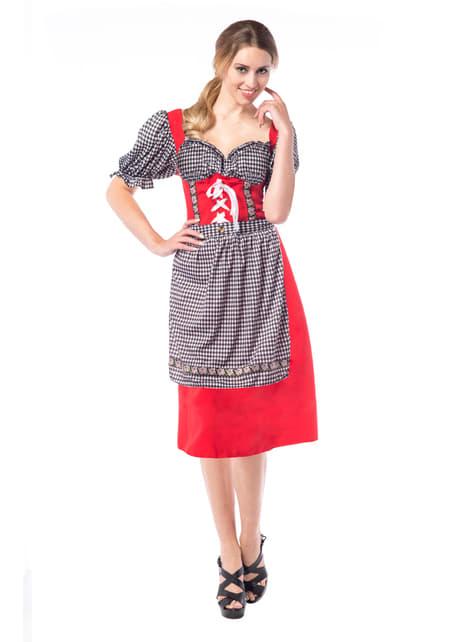 Vestido de tabernera rojo y negro para mujer
