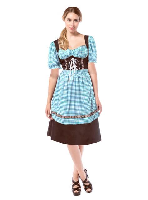 Vestido de tabernera azul y marrón para mujer