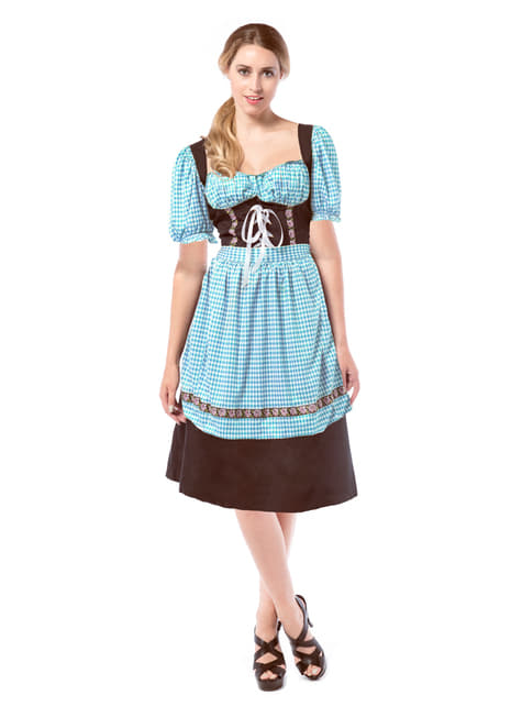 Womens blue and brown Dirndl dress