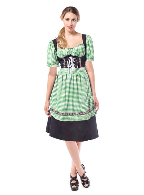 Rochie de hangiță verde cu negru pentru femeie