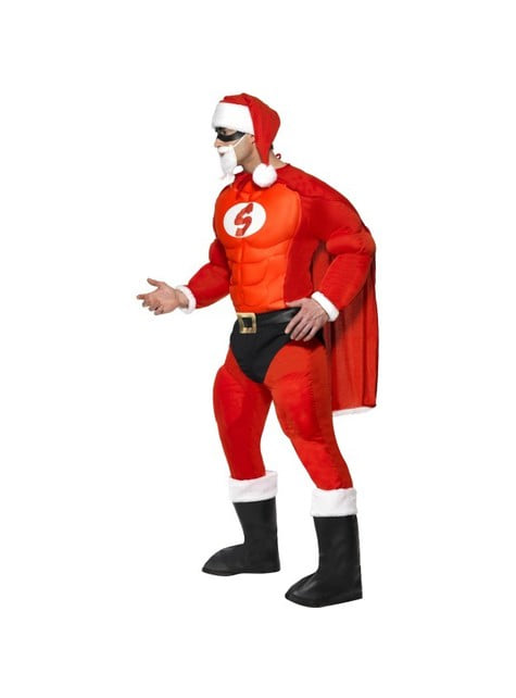 Super Julenisse muskulært kostyme