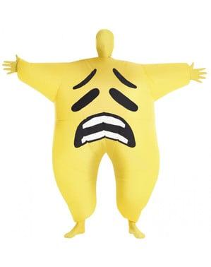 Fato de emoji triste mega morph insuflável para adulto