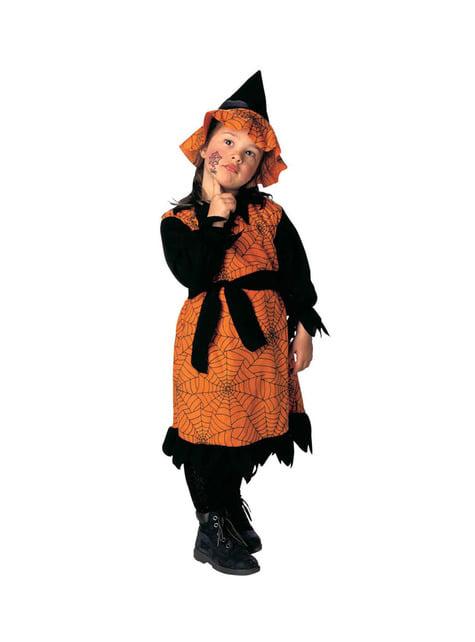 Costum vrăjitoarea paianjenilor portocaliu pentru fată