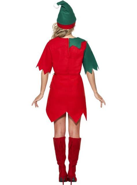 Kerstelf kostuum voor dames