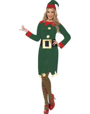 Groen kerstelf kostuum voor dames