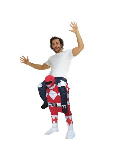 Red Power Ranger Ride-kostüüm täiskasvanutele