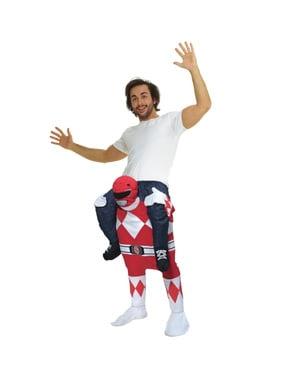 Huckepack Kostüm Power Ranger rot für Erwachsene