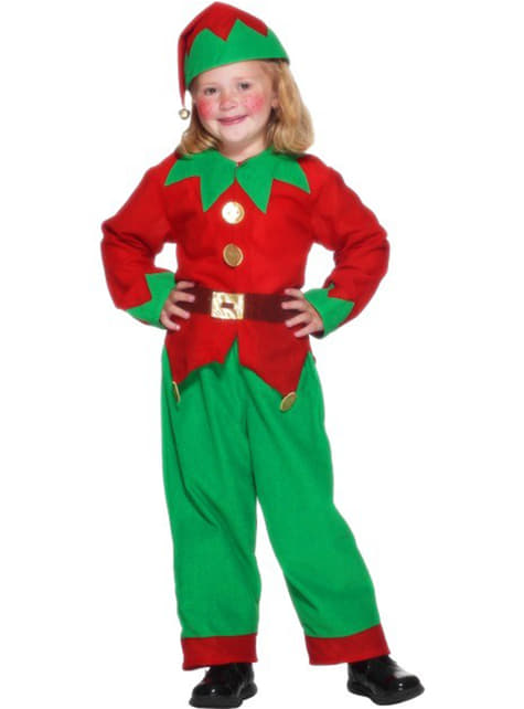 Green and red elf costume for kids