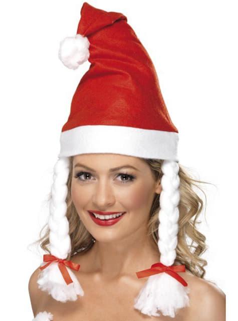 Weihnachtsfrau Mütze mit Zöpfen