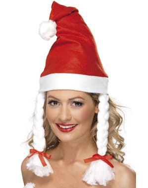 Muts met vlechten kerstvrouw